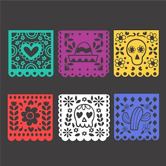 Collection de banderoles mexicaines design plat