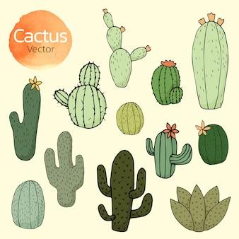 Collection de bandes dessinées de cactus, cactus dessinés à la main,