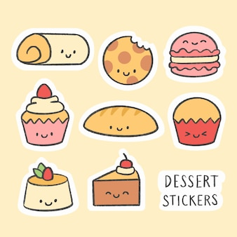 Collection de bandes dessinées dessinées à la main autocollant dessert mignon