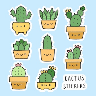 Collection de bandes dessinées à la main autocollant mignon cactus