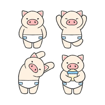 Collection de bandes dessinées à la main de bébé cochon