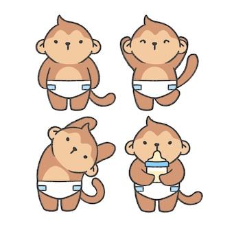 Collection de bandes dessinées à la main de bébé singe
