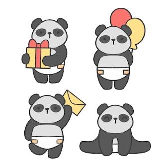 Collection de bandes dessinées à la main petit panda