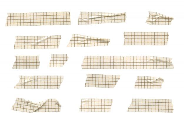 Collection de bandes de ruban washi à motifs de grille vectorielle, bandes de washi froissées et pliées