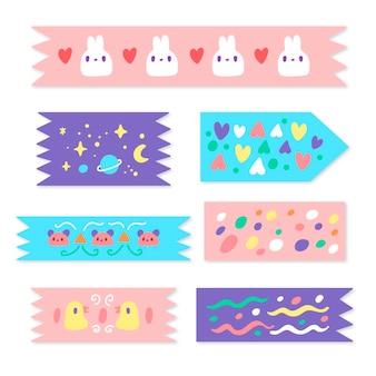 Collection de bandes washi dessinées à la main