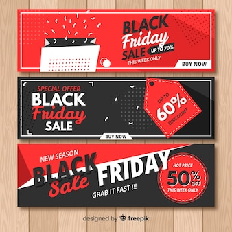Collection de bannière abstraite vente vendredi noir
