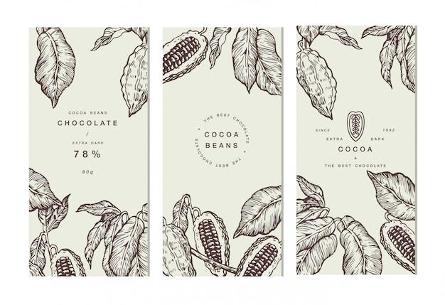 Collection de bannière d'arbre de fève de cacao.