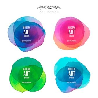 Collection de bannière d'art avec des éclaboussures d'aquarelle