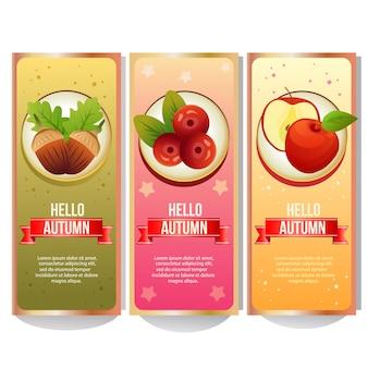 Collection de bannière automne coloré avec apple