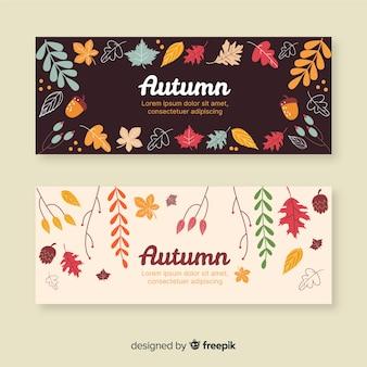 Collection de bannière automne dessinés à la main