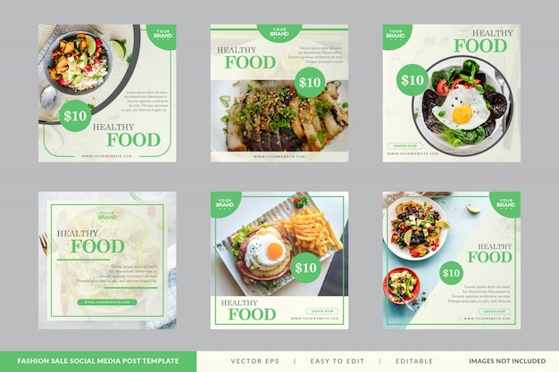Collection de bannière carrée restaurant alimentaire