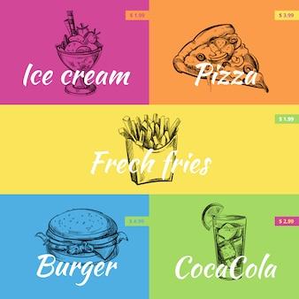 Collection de bannière de fast-food dessinés à la main