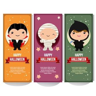 Collection de bannière d'halloween avec des enfants de costume de momie