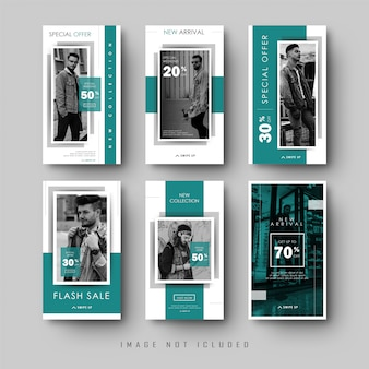 Collection de bannière d'histoires instagram de médias sociaux verts minimalistes
