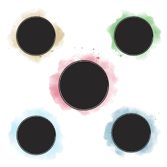 Collection de bannière insigne aquarelle coloré