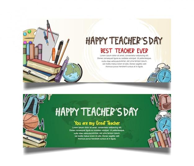 Collection de bannière de jour des enseignants heureux
