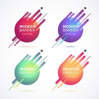 Collection de bannière moderne abstrait avec des formes colorées