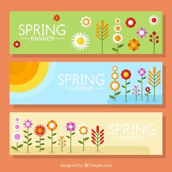 Collection de bannière de printemps fleuri