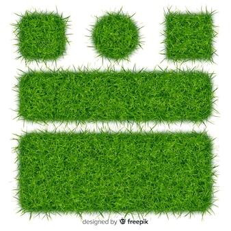 Collection de bannière réaliste d'herbe verte