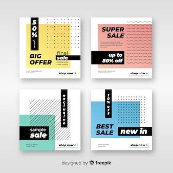 Collection de bannière de vente abstraite pour les médias sociaux