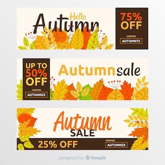 Collection de bannière de vente automne dessinés à la main