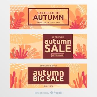 Collection de bannière vente automne plat