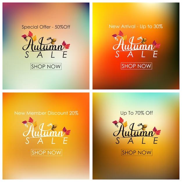Collection de bannière de vente automne
