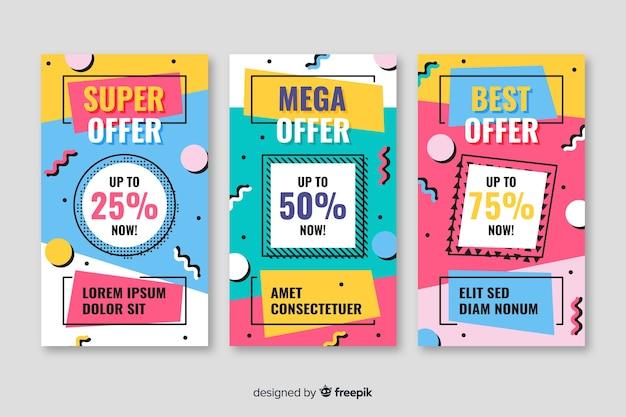 Collection de bannière de vente colorée dans le style de memphis