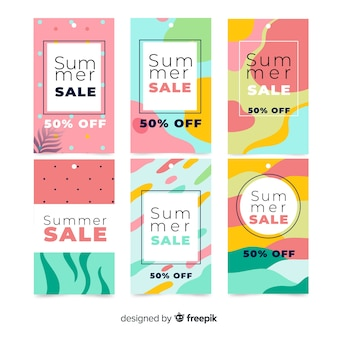 Collection de bannière de vente d'été coloré