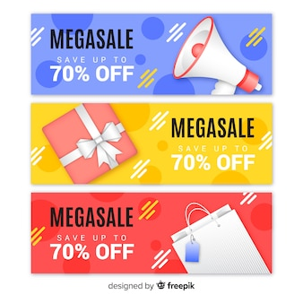 Collection de bannière de vente géométrique réaliste