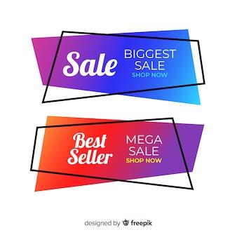 Collection de bannière de vente géométrique