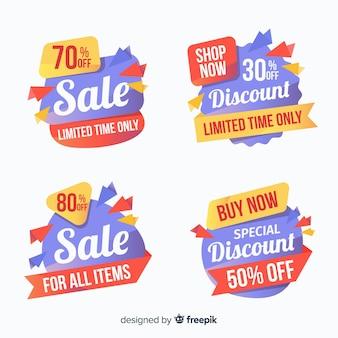 Collection de bannière de vente origami coloré