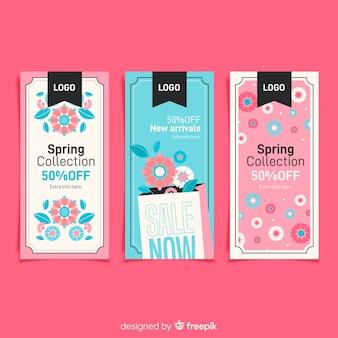 Collection de bannière de vente de printemps