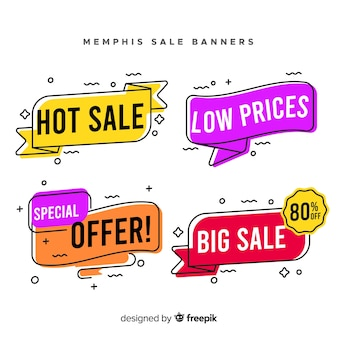Collection de bannière de vente de style memphis