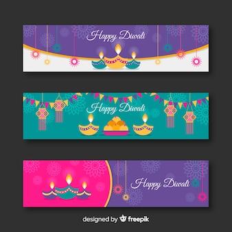 Collection de bannière web diwali avec design plat