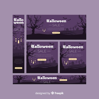 Collection de bannière web halloween avec design plat