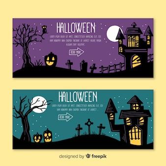 Collection de bannière web halloween dessinés à la main