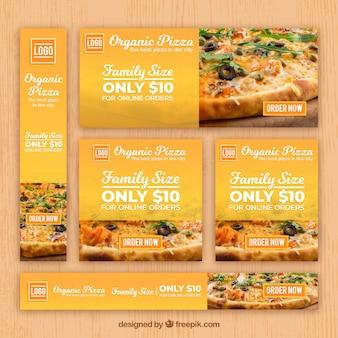 Collection de bannière web restaurant italien avec photo