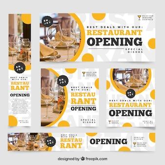 Collection de bannière web restaurant avec photo