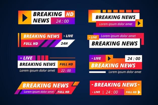Collection de bannières d'actualités en streaming en direct