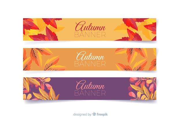 Collection de bannières automne aquarelle