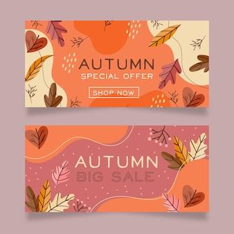 Collection de bannières automne design plat