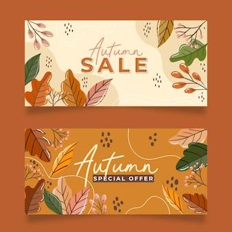 Collection de bannières d'automne dessinées