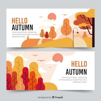 Collection de bannières automne dessinés à la main