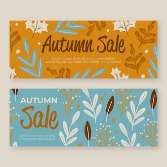 Collection de bannières d'automne dessinés à la main