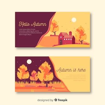 Collection de bannières d'automne plat