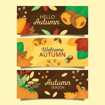 Collection de bannières d'automne