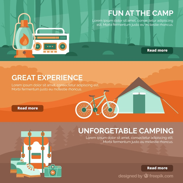 Collection de bannières d'aventure avec des détails orange,