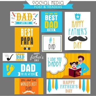Collection de bannières colorées avec des conceptions différentes pour le jour de père