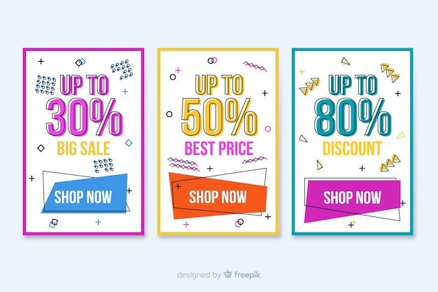 Collection de bannières colorées de vente dans le style de memphis